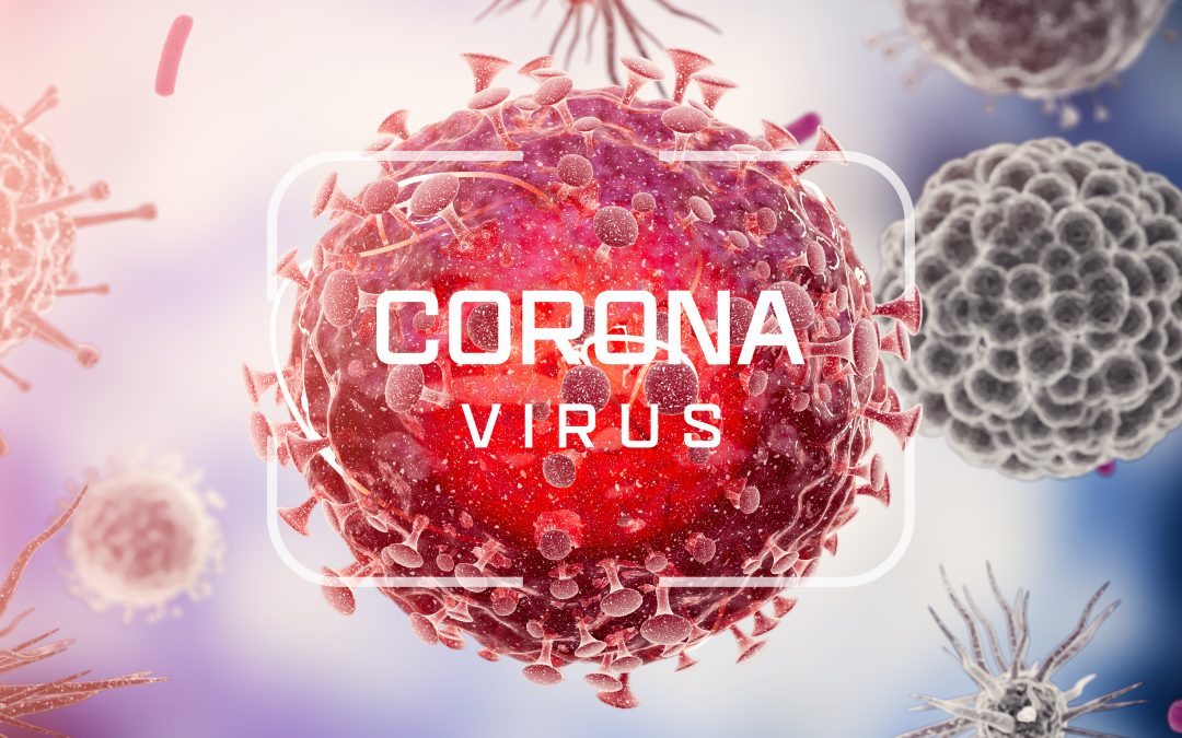 "Picture of red ball with tendrils representing a virus, overlayed by white text that reads ""Corona virus"""